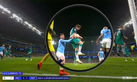 VAR from BT Sport's coverage of the Uefa Champions League quarter-final between Manchester City and Tottenham, 17 April 2019.