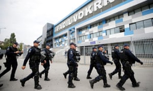 There is a heavy police presence for the Group A game at Fadil Vokrri Stadium in Pristina.