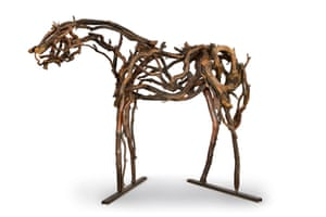 Marsha Williams invited Deborah Butterfield to their Napa ranch in 2000. The artist collected fallen branches from around the property and fashioned them into horses, each named for one of the Williams's children: Zak, Zelda and Cody, the latter of which is included in the sale