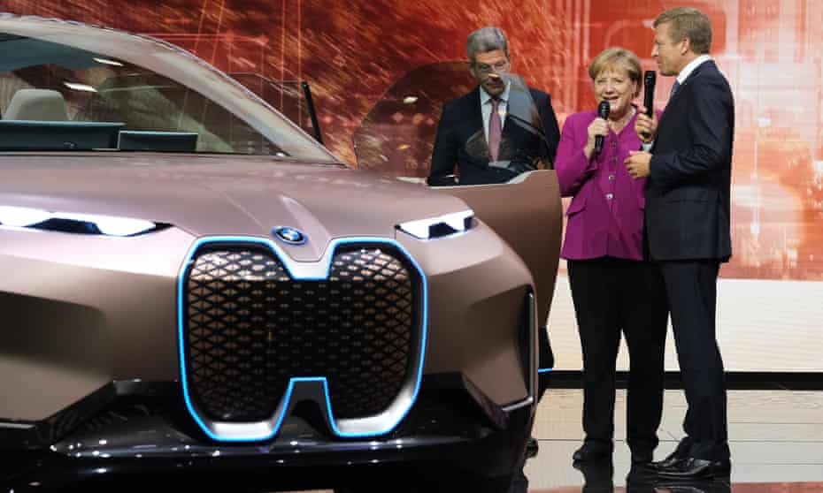 German chancellor Angela Merkel at Frankfurt Auto Show last year.