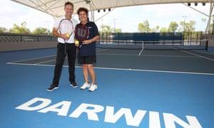 Todd Woodbridge and Evonne Goolagong Cawley at the Darwin International Tennis Centre last year