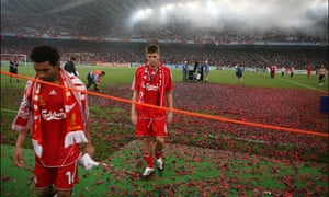 Pennant trudges off the Athens pitch, followed by Steven Gerrard, after Liverpool's defeat to Milan in the 2007 Champions League final.