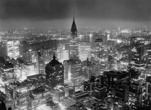 View of Manhattan looking east from atop the RCA building and at the Chrysler building, center, 1957