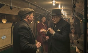 'He never set foot on the Tube in his life' … Gary Oldman takes the underground as Churchill in Darkest Hour.