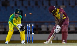 Andre Fletcher of West Indies bowled by Australia's Adam Zampa