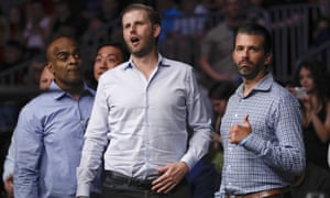 Donald Trump Jr and Eric Trump at Colby Covington's fight on Saturday night