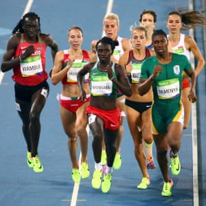 Caster Semenya , right, of South Africa leads.