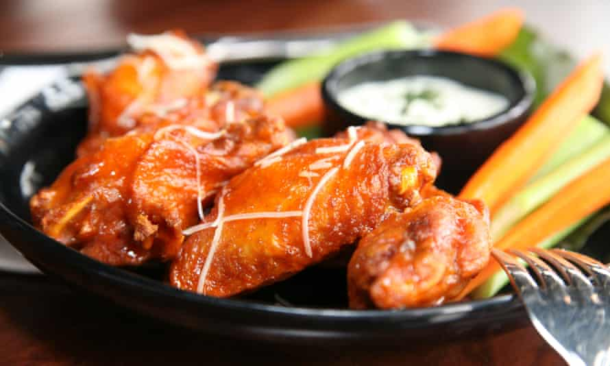 Spicy buffalo wings with a blue cheese dip