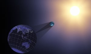 Nasa illustration shows a visualization image of the Earth, moon, and sun during the 21 August eclipse.