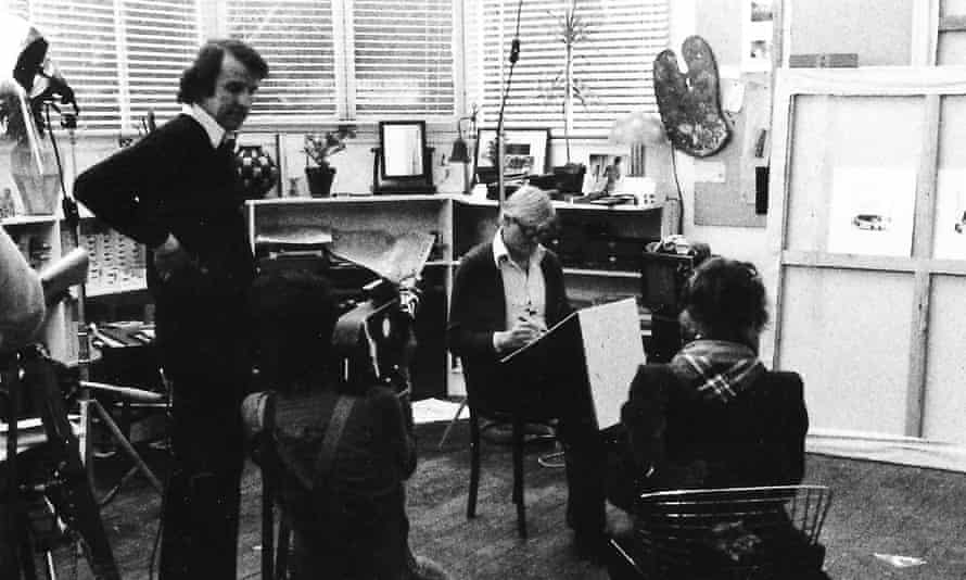 Dibb with David Hockney, who drew Celia Birtwell for Seeing Through Drawing in 1976.