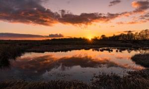Sunset at Drumburgh national nature reserve.