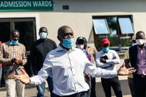 Nelson Chamisa, leader of Zimbabwe opposition party the Movement for Democratic Change, addressing journalists were three of his colleagues were recovering.