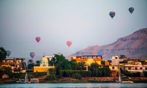 Hot air balloons over the ancient city of Luxor, Egypt.