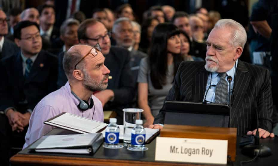 Brian Cox and Jesse Armstrong on the set of Succession, season two.