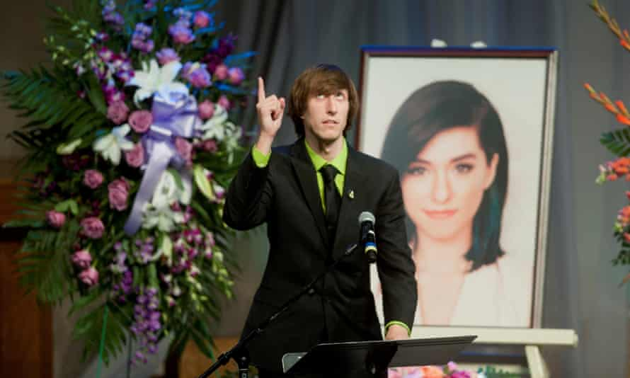 Mark Grimmie speaks as his sister Christina's memorial service in Medford, New Jersey. Grimmie was shot dead by a fan after a concert in Orlando, Florida on 10 June.