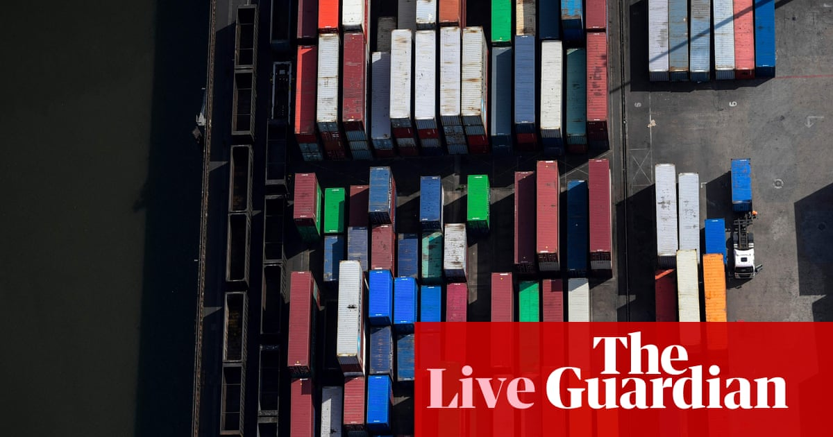 German exports hit by shortages; another Chinese property developer defaults – business live