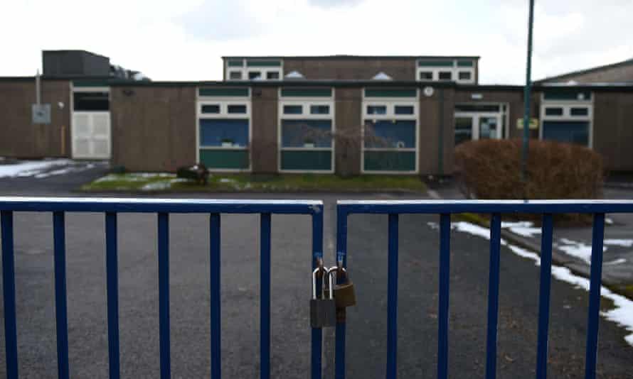 Locked school gates.