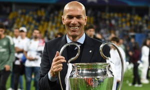 Zinedine Zidane holds the European Cup after Real Madrid's 3-1 victory against Liverpool in the Champions League final