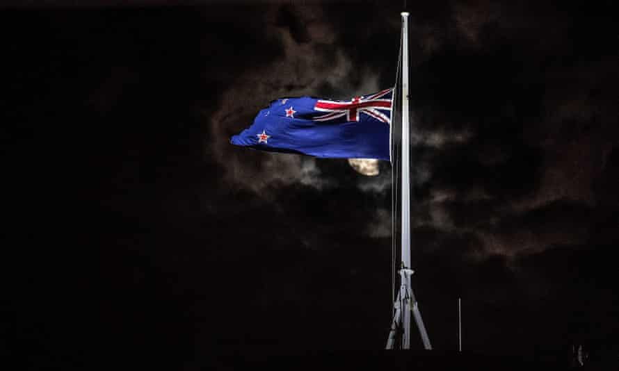 The New Zealand national flag is flown at half-mast in Wellington after the Christchurch shootings.