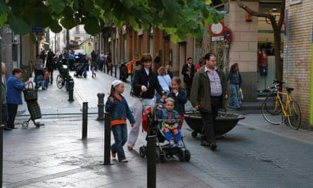 A pedestrian-friendly street in the Gràcia neighbourhood.