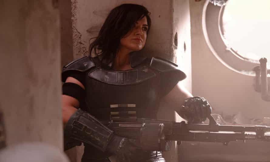 Gina Carano in a scene from The Mandalorian, set to be released on Disney+.