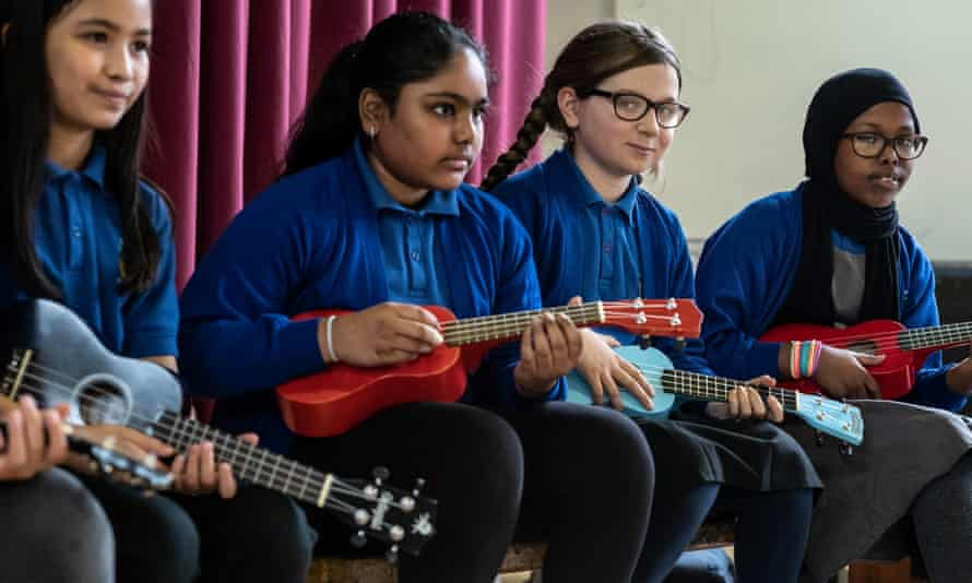 Pupils at a London primary school. 'A record industry survey found that state schools have seen a 21% per cent decrease in music provision in the past five years.'