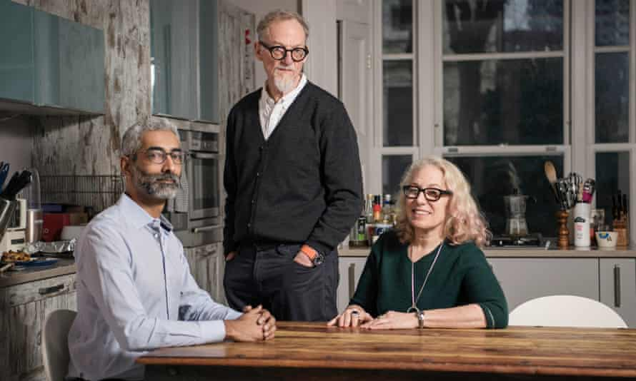 Suzanne Noble, the founder of Silver Sharers, with her lodger Ameet (far left) and partner Bob.