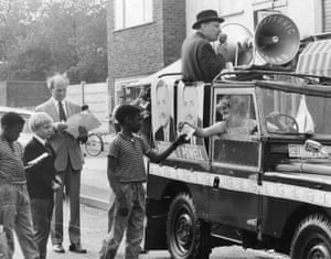 Enoch Powell electioneering in his Wolverhampton constituency, 1970.