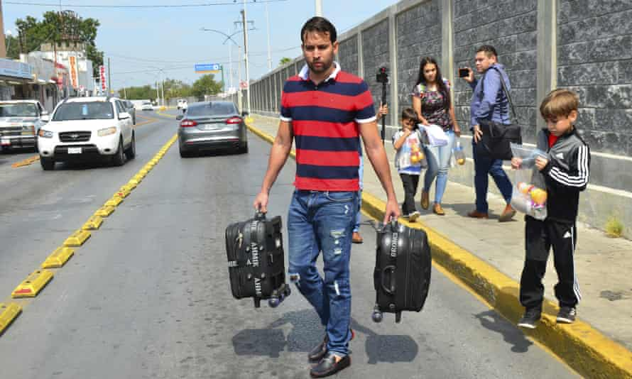 The Ascencio family from Venezuela are returned by US authorities to Nuevo Laredo, Mexico as part of the so-called Remain in Mexico program for asylum seekers this month.