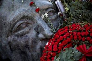 Athens, Greece: Flowers are placed on a monument i