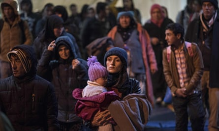 Refugees arrive by ferry to the port of Piraeus in Athens, Greece from Lesbos