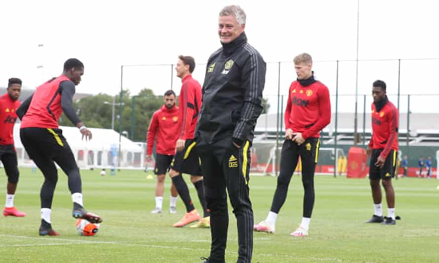 The Manchester United Ole Gunnar Solskjær takes a first-team training session this week.