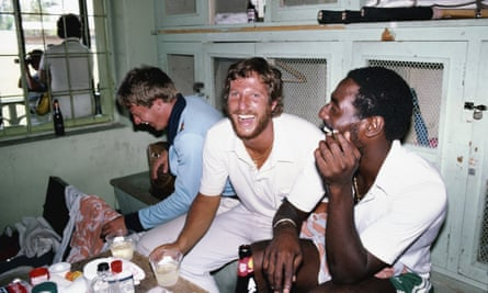 Ian Botham and Viv Richards after the third Test match in Barbados back in 1981.