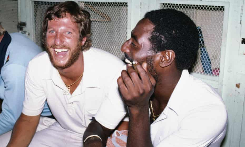 Ian Botham with Viv Richards in Barbados in 1981