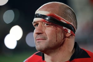 Rory Best, the Ireland and Ulster captain, during the European Champions Cup group-stage match against Racing 92  at the Kingspan Stadium in Belfast.
