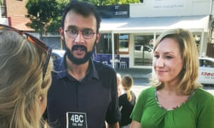 Queensland's first Greens councillor Jonathan Sri with federal senator Larissa Waters