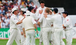 The 12th man Gary Pratt is congratulated by England teammates after running out Ricky Ponting at Trent Bridge during the 2005 Ashes
