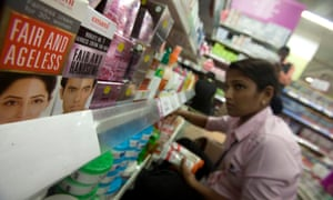 Skin lightening creams on sale in a store in Mumbai, India.