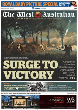 front-page west australian April 25, 2018