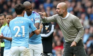 Pep Guardiola issues instructions to Fernandinho against Wolves on Sunday