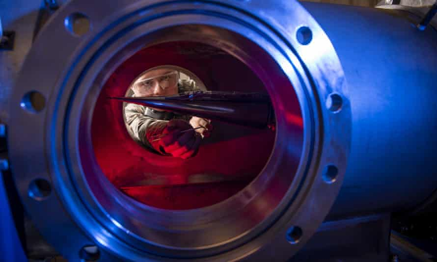 A service member conducts research on hypersonic vehicles at the US Air Force Academy's department of aeronautics, in Colorado Springs, Colorado, in 2019.