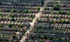 An aerial view of terraced homes