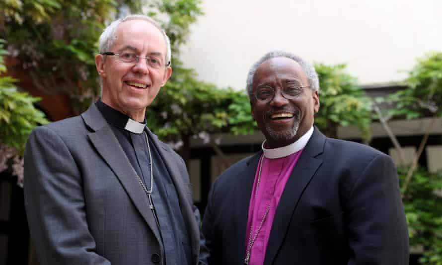 The archbishop of Canterbury, Justin Welby, and Bishop Michael Curry at St George's Chapel, Windsor.