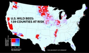 A 2015 study of wild bees showed the wild bee population in major agricultural regions of California, the Pacific Northwest, the upper Midwest and Great Plains, west Texas and the southern Mississippi River valley.