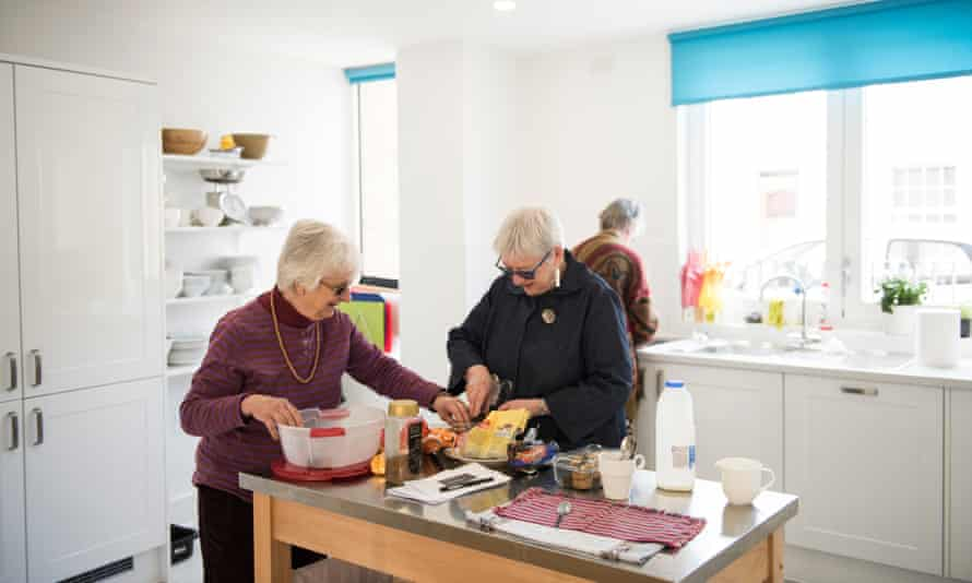 Residents regularly cook and talk together in the Common House kitchen at new Ground, north London