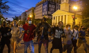 Protesters last night at Black Lives Matter Plaza, after the road was opened back up in Washington, DC