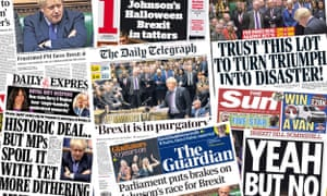 Front pages of the UK papers on Wednesday, 23 October 2019