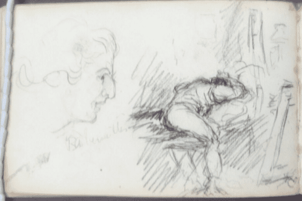 A picture from Tom Roberts' sketchbook circa 1883-1884 held at the Mitchell Library.