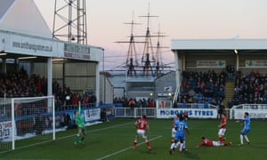 With the masts of HMS Trincomalee providing a historic background, a Hartlepool United attack is thwarted by the crossbar during the 2-0 defeat by Wrexham.