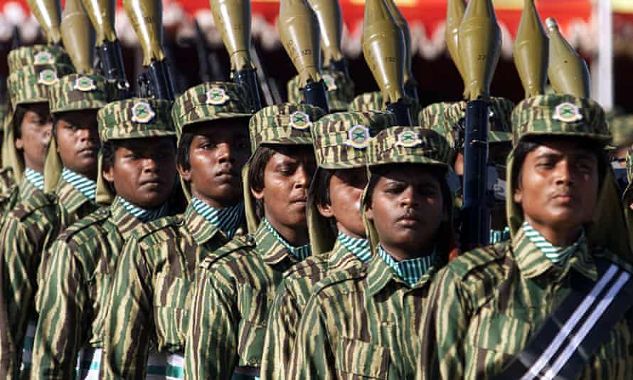 Soldiers of the LTTE, Liberation Tigers of Tamil Eelam, in Kilinochchi, Sri Lanka, celebrating Tamil Women's Day in October 2002.